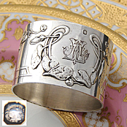 Antique French Sterling Silver Napkin Ring, Ornate Art Nouveau Floral Decoration, LD Monogram