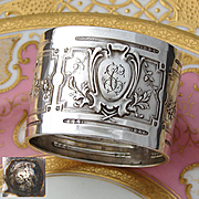 Antique French Sterling Silver Napkin Ring, Ornate French Empire Style Decoration, SC Monogram