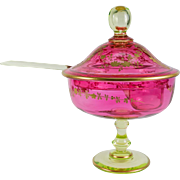 Antique French Raised Gold Enameled Punch Bowl, Ladle, St. Louis 19th Century, Pink and Green