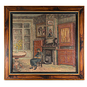 """Petit Antique French Impressionist Oil Painting, Interior Scene with Mother, Child, 10.75"""" x 9.75""""  Frame"""