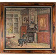 "Petit Antique French Impressionist Oil Painting, Interior Scene with Mother, Child, 10.75"" x 9.75""  Frame"