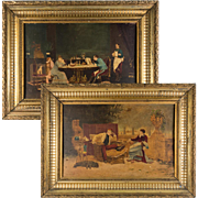 PAIR: Antique French Oil Paintings, Domestic Military Life Young and Old, Fine Frames, c.1870s