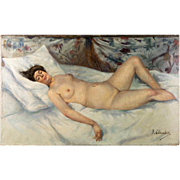 "Antique French Impressionist Oil Painting, Reclining Nude, Artist Signed: R. Clauden, No Frame, 24"" x 15"""