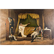 "Antique French Oil Painting on Linen Canvas, Military Subject, Interior Scene, 16"" x 10.75"", No Frame"