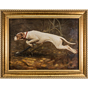 "Superb Artist Signed Antique Oil Painting of a Hound, Dog, in Frame ""H. James"",  19"" x 15"""