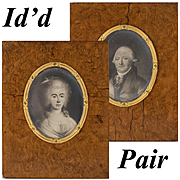 ID'd Pair of Antique French Pencil Portrait Drawings, 1700s Miniature Portraits, Burled Frame