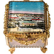 Antique French Eglomise Souvenir Casket, Box, View Of The Military Camp de Bitche, France. MOP