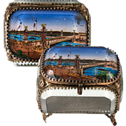 Antique French Eglomise Paris Souvenir Casket, Box, Pont Alexandre II Bridge, c.1900 Paris Expo