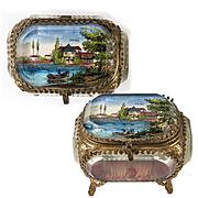 Antique French Eglomise Paris Souvenir Casket, Box, View Of Vittel, the Mineral Water Source