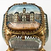 Antique French Eglomise Paris Souvenir Casket, Box, View Of The Hotel de Ville, Lyon, France. MOP