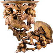 Exceptional Antique Black Forest Clock or Bracket Shelf, Hand Carved c. 1880s. Fruit and Bird