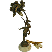 Delightfully Charming! 19th Century French Ormolu Lamp, Sculpture of School Boy, (not Bronze)