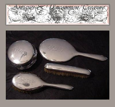 Antique English or American 4pc Sterling Silver Vanity Brush Set