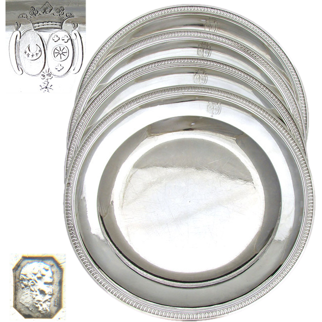 """RARE Set of 4 Antique French Sterling Silver 10.5"""" Chargers, Plates or Tray: Crown Topped Armorial Style Engravings, 2652 grams"""