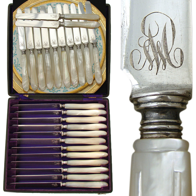 Gorgeous Antique French .800/1000 Silver & Pearl 12pc Table Knife Set, Box: Engraved Monograms