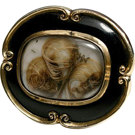 Victorian 12K Mourning Brooch, Antique, Black Enamel & Blond Hair Art