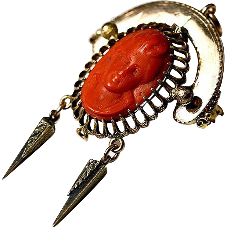 Sueprb Antique Red Coral Cameo, NeoGothic Brooch - Victorian era, deep bas relief