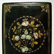 Antique Victorian English Papier Mache Blotter, Folio, MOP - Mother of pearl inlays, hand painted