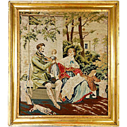 Antique Victorian Needlepoint, Gilt Wood Frame, Dog