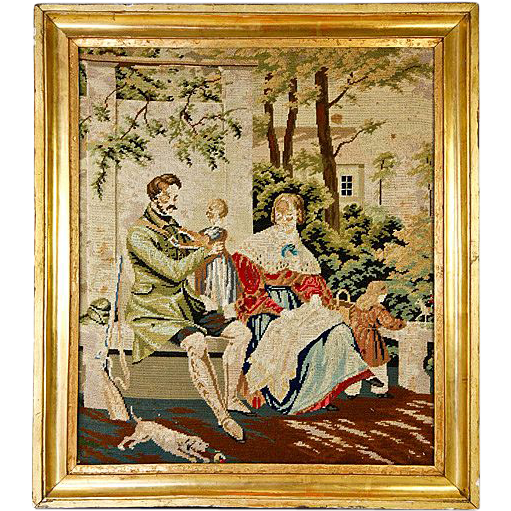 Antique Victorian Needlepoint, Gilt Wood Frame, Dog