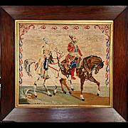 Antique Victorian Needlepoint, Fine Wood Frame, Arabian Horses