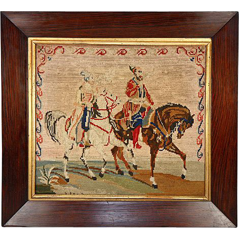 Antique Victorian Needlepoint, Fine Wood Frame, Arabian Horses