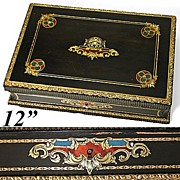 Antique French Boulle Sewing, Jewelry or Work Box, Colorful Inlays