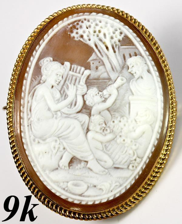 Large Hand Carved Antique Cameo, Psyche and Cupid, 9k Gold Mount - English Marks