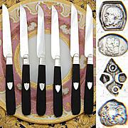 Antique French Sterling Silver & Ebony 6pc Knife Set, 1819-1838