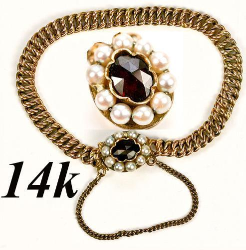 "Vintage to Antique Child's 14K Gold 5.5"" Bracelet, Pearls and Facet-cut Garnet, Guard Chain,"
