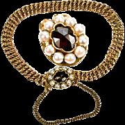 "Vintage to Antique Child's 14K Gold 5.5"" Bracelet, Pearls and Facet-cut Garnet, Guard Chain,"