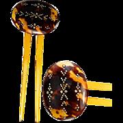Antique Victorian Era Faux Tortoise Shell Comb, 9k Gold Pique - Tortoiseshell