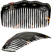 Antique Victorian Era Faux Tortoise Shell Comb, 9k Gold Pique - Tortoiseshell