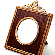 Antique French Dore Bronze Photo Frame with Wood Mat, Easel Stand Back - Ormolu