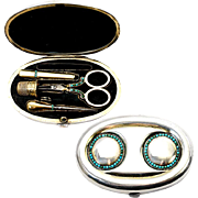 Antique English Sterling Silver and Turquoise Sewing Set, Etui, Scissors, Thimble - Asprey, London, 1899