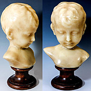 """Antique French 8"""" Tall Wax Sculpture of a Young Child, c. 1850-70s, Napoleon III"""