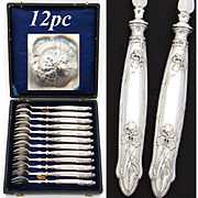 Lovely Antique French Sterling Silver 12pc Shellfish or Oyster Fork Set, Art Nouveau