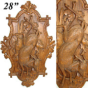 """LG Antique Victorian Black Forest Carved Wood 28"""" Wall Plaque, """"Fruits of the Hunt"""" Motif with Deer & Scissor-tail Bird"""