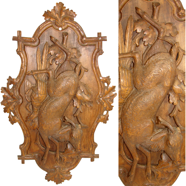 Lg Antique Victorian Black Forest Carved Wood 28 Quot Wall