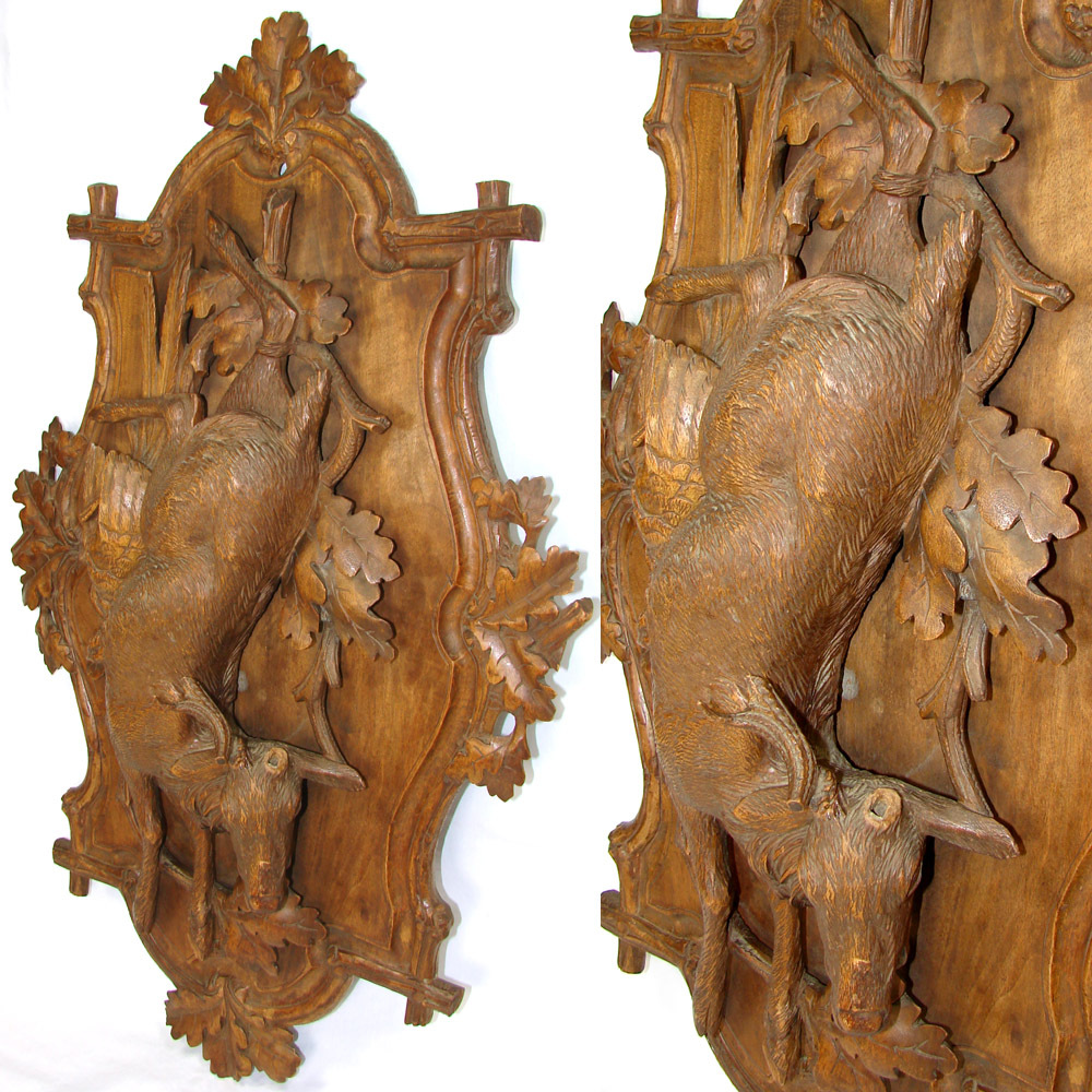 Lg antique victorian black forest carved wood 28 wall plaque fruits from antiques uncommon for Victorian woodwork