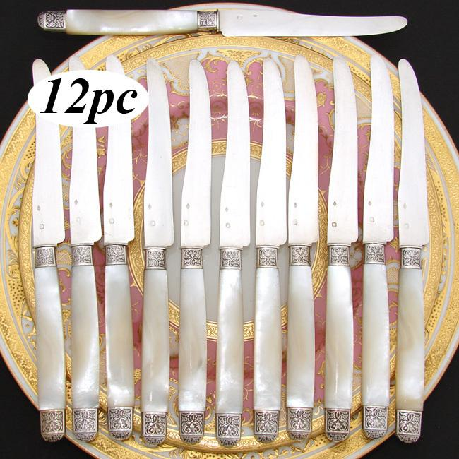 "Antique French Sterling Silver & Mother of Pearl 8"" Luncheon or Dessert Knife Set, Ornate"