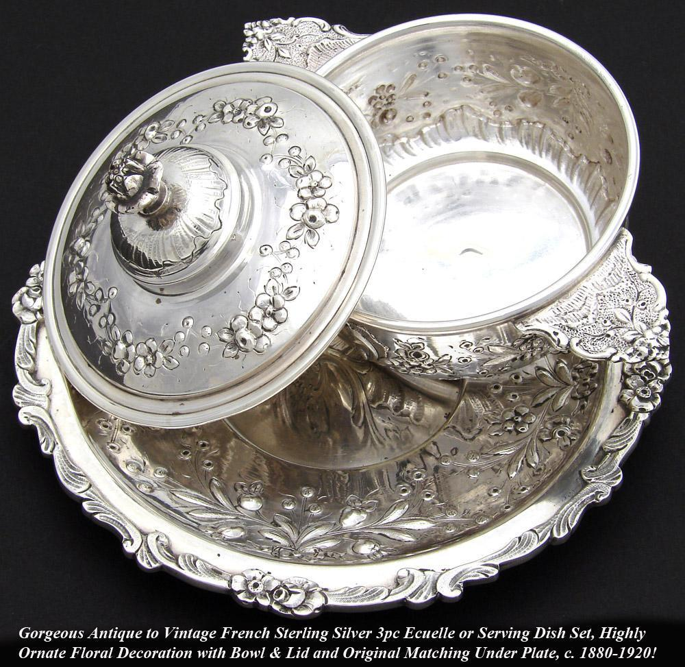 Antique French Sterling Silver 3p Ecuelle, Butter, Sauce or Caviar Set, Highly Ornate