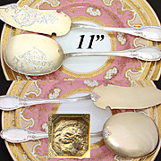 Antique French Sterling Silver & Vermeil 2pc Ice Cream or Dessert Serving Implements in Orig. Fitted Box