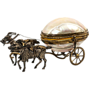 """Antique French 6.5"""" Goat Carriage in Mother of Pearl, a Palias Royal Trinket Egg Cart"""
