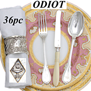 Antique French ODIOT Sterling Silver 36pc Luncheon or Dessert Flatware Set, Fontenelle Pattern