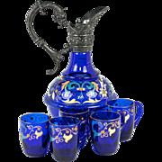 Antique French Liqueur Set, Mascaron Carafe + 5 Cups, Cobalt & Enamel