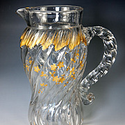 Antique French Water Pitcher, Daum, Rocailles and Florals of Raised Gold Enamel