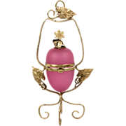 Rare Ring Box Sized Antique French Opaline Egg & Ormolu Casket, Box, Etui - Pink