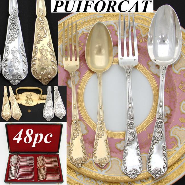 Exquisite Antique French PUIFORCAT Sterling Silver & Vermeil 48pc Flatware Set, Highly Ornate & Original Chest
