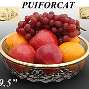 """Gorgeous Vintage French PUIFORCAT 18K Gold on Sterling Silver & Cut Glass 9.5"""" Serving or Salad Bowl"""